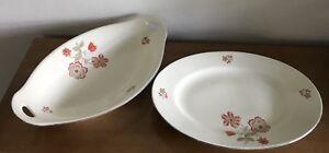 Jäger (Jaeger) Bavaria - 2 Porcelain Serving Dishes - Red Flowers - Hand Painted
