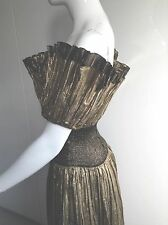 SPECTACULAR METALLIC GOLD PLEATED FULL LENGTH BALL GOWN UK 8-10