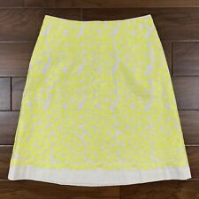 Boden Women's Size 8 L Off White Yellow Leaf Embroidered A Line Skirt Lined