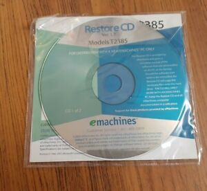 eMachines Models T2385 Restore CDs 1 + 2 Bootable CDs Ver. 1.1 Recovery