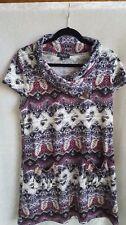 Papillon Size XL Tunic/Mini Dress BOHO Print Black, White, Purple, Wine