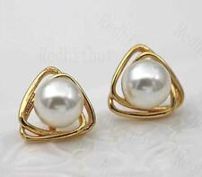 18K Gold Filled Earring 2-Layer Triangles Cross Elegant Pearl Stud Cocktail DS
