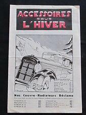 Brochure Accessoires pour l'Hiver Ets Auto-Accessoires Paris Années 20 Delage