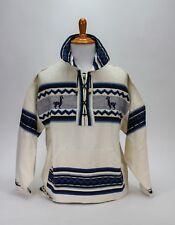 Artesania Landa White Blue Jacket 100% Cotton Hand Made Peru Llama Size Medium