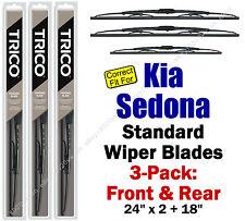 Wiper Blades 3-Pack Front Rear Standard - fit 2002 Kia Sedona - 30240x2/180
