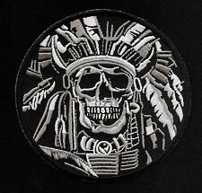 NATIVE AMERICAN INDIAN CHIEF SKULL FEATHERED HEADRESS MOTORCYCLE BIKER PATCH
