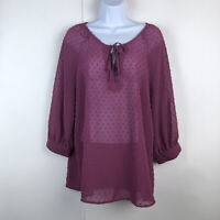 Matilda Jane Medium Women's Blouse Sheer Swiss Dot Secret Fields Pink Purple Ari