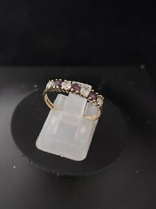 9ct Yellow Gold Purple & Clear Cubic Zirconia Eternity Band 1.3g  O (Not Scrap)