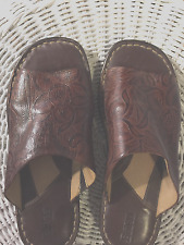 """Sandals, BORN, Brown leather with floral pattern, 1"""" heel, SZ:7M"""