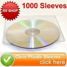 1000 CD DVD Disc CLEAR PLASTIC Sleeve Wallet Cover Custodia con patta