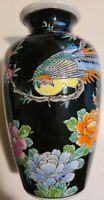 """Vintage Ceramic Oriental Asian Black with Colorful Pheasant and Floral Vase 6.5"""""""