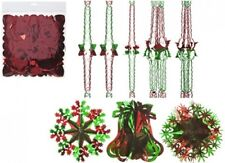 Green Red Christmas Foil Ceiling Decoration Garlands, Bells, Stars, Snowflakes,