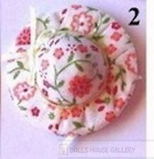 Pretty Floral Hat, Dolls House Miniature Doll Clothing Accessory. Summer Hat