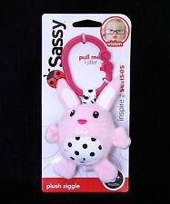 New Sassy Plush Ziggle Pink Black White Bunny Clip Hang Toy Plush Baby Toy
