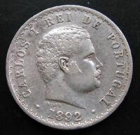 PORTUGAL , 500 REIS DE 1892 . PLATA
