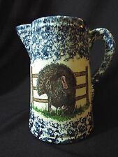 Blue White Spongeware Pitcher Turkey Thanksgiving Stoneware Spatter Sponge Ware