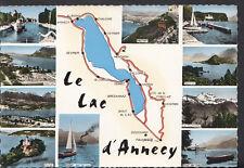 France Postcard - Map of Le Lac D'Annecy B1265