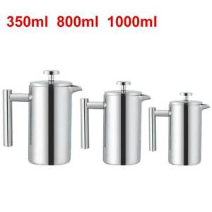 Stainless Steel Cafetiere French Press Filter Tea Coffee Plunger 350/800/1000ml