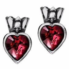 ALCHEMY CLADDAGH HEART STUD EARRINGS RED IRISH GOTHIC + FREE GIFT BOX