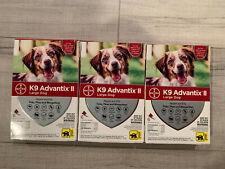 Lot Of 3 K9 Advantix Ii Large Dog Flea & Tick Treatment 21-55 lbs 18 Doses New