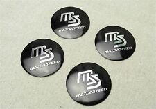 JDM 4Pcs Black MS MazdaSpeed Aluminum Alloy Wheel Center Hub Caps Sticker Emblem