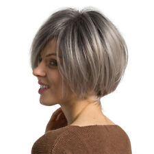 Natural Short Bob Wigs Human Hair Pixie Cut Wig for Women w/ Bangs 12 inch