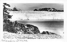RPPC COLUMBIA GLACIER JUNEAU ALASKA WHEELER REAL PHOTO POSTCARD (c. 1940s)
