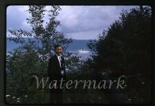 1964 kodachrome photo slide  boy with camera Gaspe Canada MS Gripsholm ship