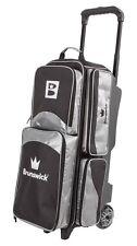 Brunswick Edge Premium 3 Ball Bowling Roller Bag Color Silver