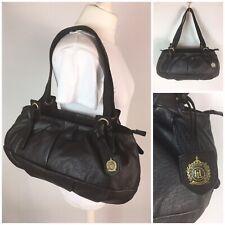 Hampton Leather Goods Soft Black Leather Bag Handbag Shoulder Bag Double Strap