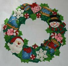 "Bucilla Christmas Toys Wreath  86363 Felt Applique Kit 16"" Round Finished Made"