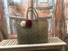 Artisan Mexican Handmade Woven Recycled Plastic Bronze Tote Basket Beach Bag Xl