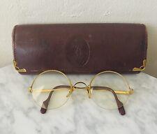 Vintage Designer Cartier Trinity Gold Plated 135 Round Half Rimless Eyeglasses