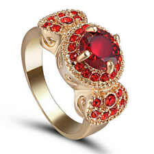 Red Ruby Garnet Big Stone Wedding Ring 18KT Yellow Gold Filled Jewelry Size 6