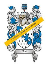 Family Name Surname Coat of Arms and History on Parchment Personalised Gift A4