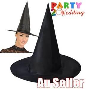 WITCH HAT Plain Black Halloween Costume Fancy Dress Women's Accessory Wizard New
