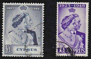 CYPRUS GEORGE VI 1948 ROYAL SILVER WEDDING SET OF TWO SG 166, 167 SUPERB USED