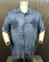 Cubavera Men's XL Blue Floral Hawaiian Short Sleeve Shirt