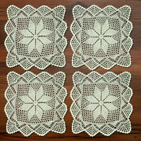 4Pcs/Lot Hand Crochet Doilies Vintage Cotton Lace Doily Square Table Mats 12inch
