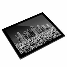 A3 Glass Frame BW - 3D Holographic City Urban  #38346