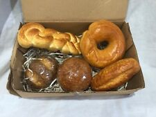 5 pc Artificial Faux Bread rolls Bagel Loaf baked fake kitchen bakery decor #