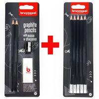 Bruynzeel Essentials Study Set -  7 HB Graphite Pencils, Sharpener and Eraser