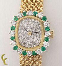 Omega 14k Yellow Gold Women's Vintage Estate Hand-Winding Watch Diamond Emerald