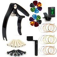 Guitar Strings Tuner Picks Capo Pins String Cutter Winder-Guitar Replacement Kit