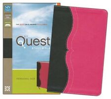 ** NIV 2011 Quest Study Bible - Black/Pink Leathersoft - NEW!  Personal Size 695