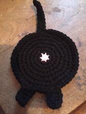 1 Handmade crochet Cat Butt Coaster Black Novelty funny gift for cat lover