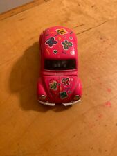 "Vtg Pink VW Beetle Bug Toy Car Doors Hood Open 5""x2"" I Love My Beetle  P61"