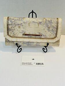Brahmin Soft Checkbook Wallet in Topaz Alma Tri-Texture