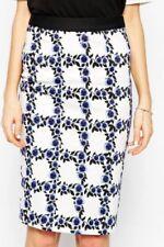 Cotton Blend Knee-Length Geometric Regular Size Skirts for Women