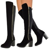Womens Low Block Heel Black Over The Knee Thigh Boots Stretch Platform New UK